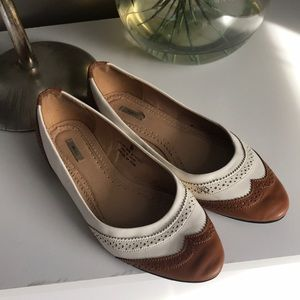 Tan and white Oxford Style Ballet Flats